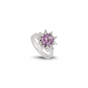 White Gold Pink Sapphire and Diamond Dress Ring